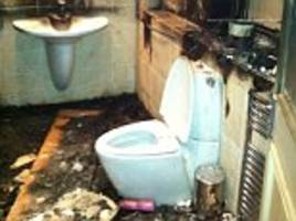 Pictures of Mario Balotelli's bathroom after fireworks were let off revealed