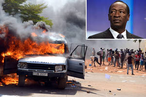 African leader steps down after protests ravage city